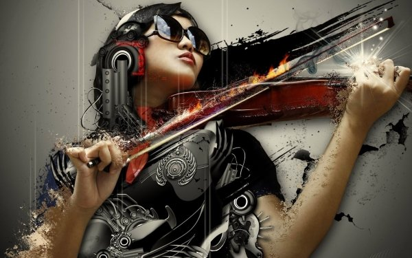 Music Violin Manipulation CGI Urban Style Sci Fi Cyborg HD Wallpaper | Background Image