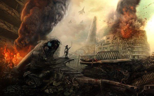 Sci Fi Battle Warrior Apocalyptic HD Wallpaper   Background Image