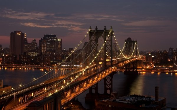 Man Made Manhattan Bridge Bridges City Cityscape Night Light Waterway New York Manhattan HD Wallpaper | Background Image