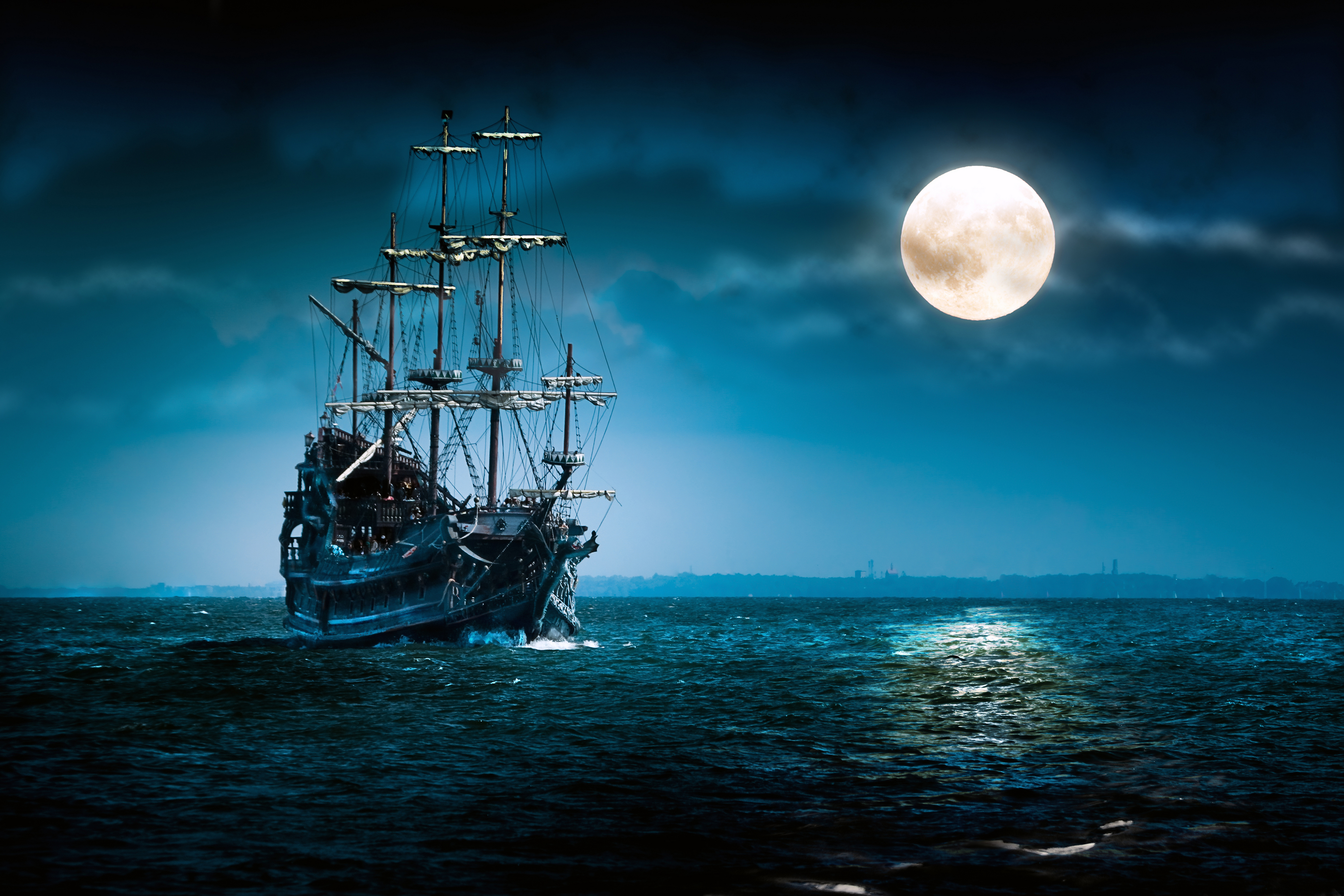 Fantasy   Ship   Night   Moon   Sky   Ocean   Coastline   S