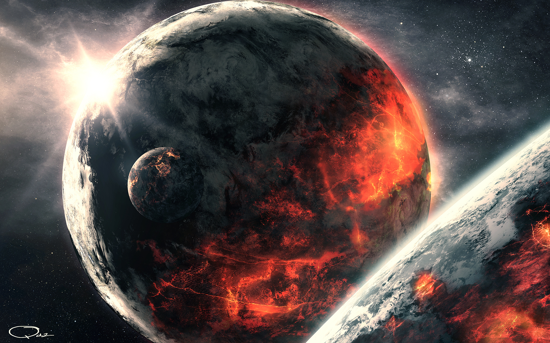 Space Demonic Art Hd Wallpaper: Planets Full HD Wallpaper And Background Image