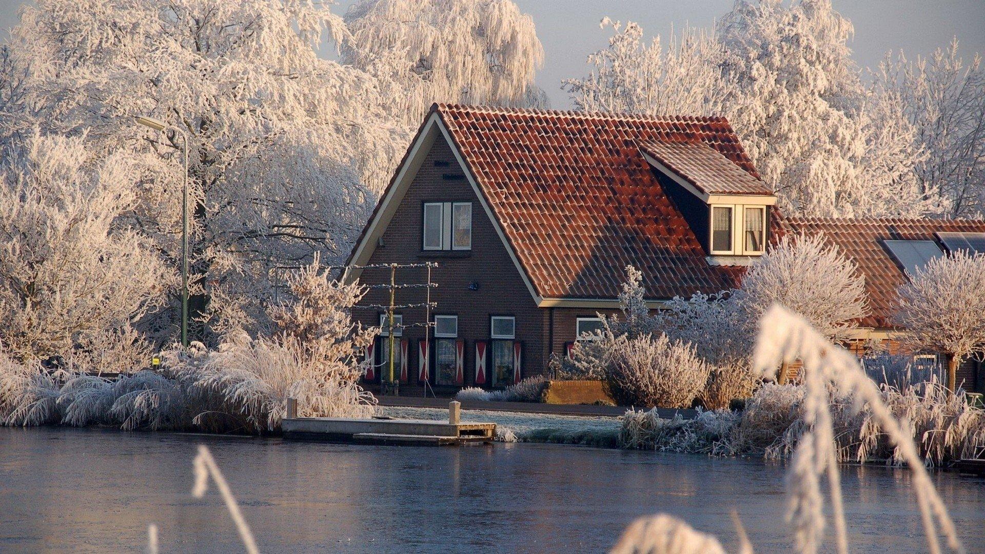 Фотографии - Зима  Season Дом Лёд Snow Обои
