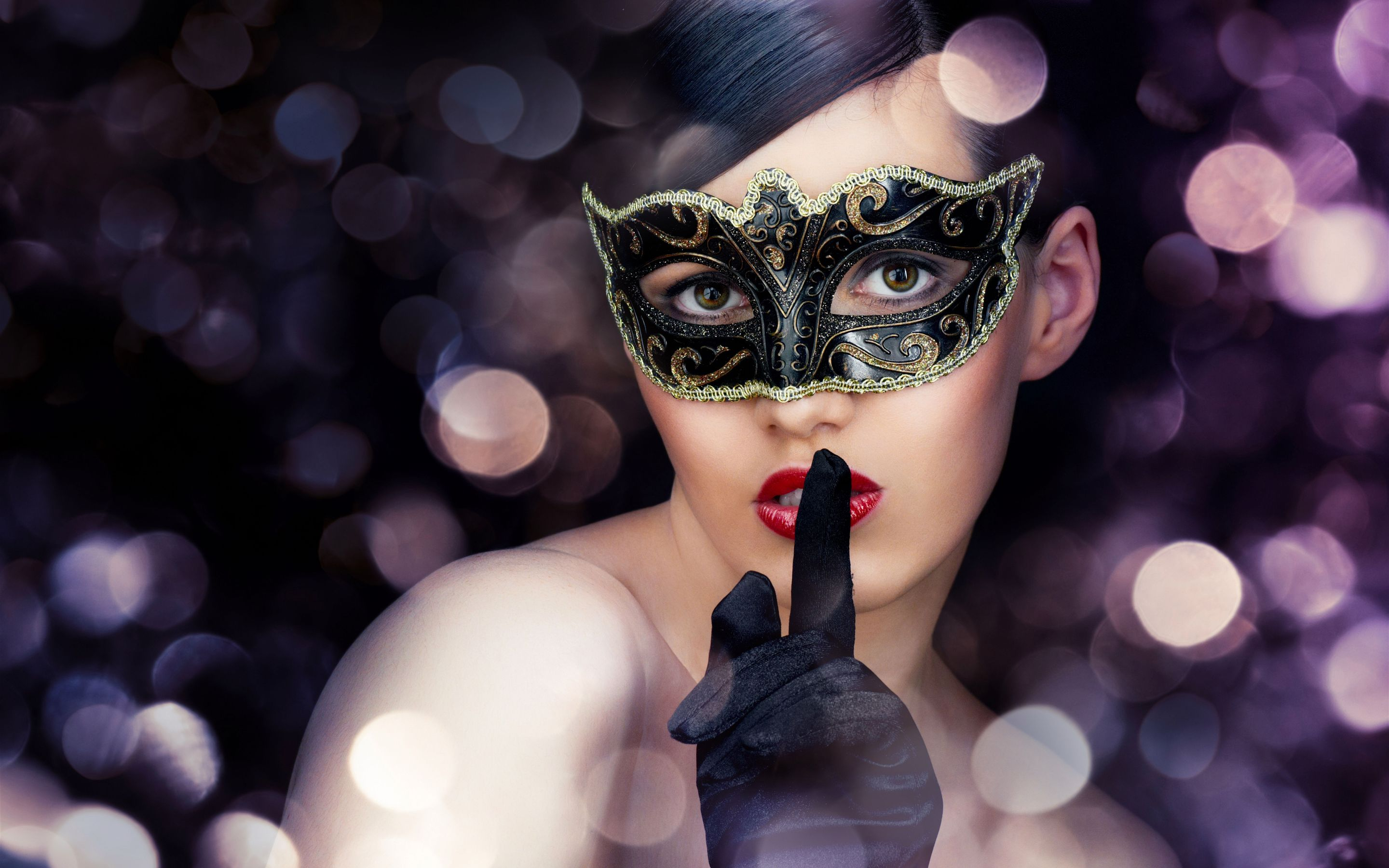 Photography - Mask  Sensual Fashion Style Face Masquerade Model Wallpaper