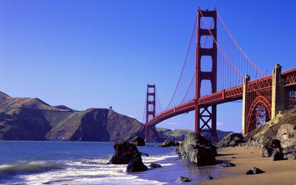 Man Made Golden Gate Bridges Beach Sky HD Wallpaper | Background Image