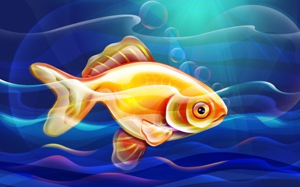 Animal Artistic Fish Blue HD Wallpaper | Background Image
