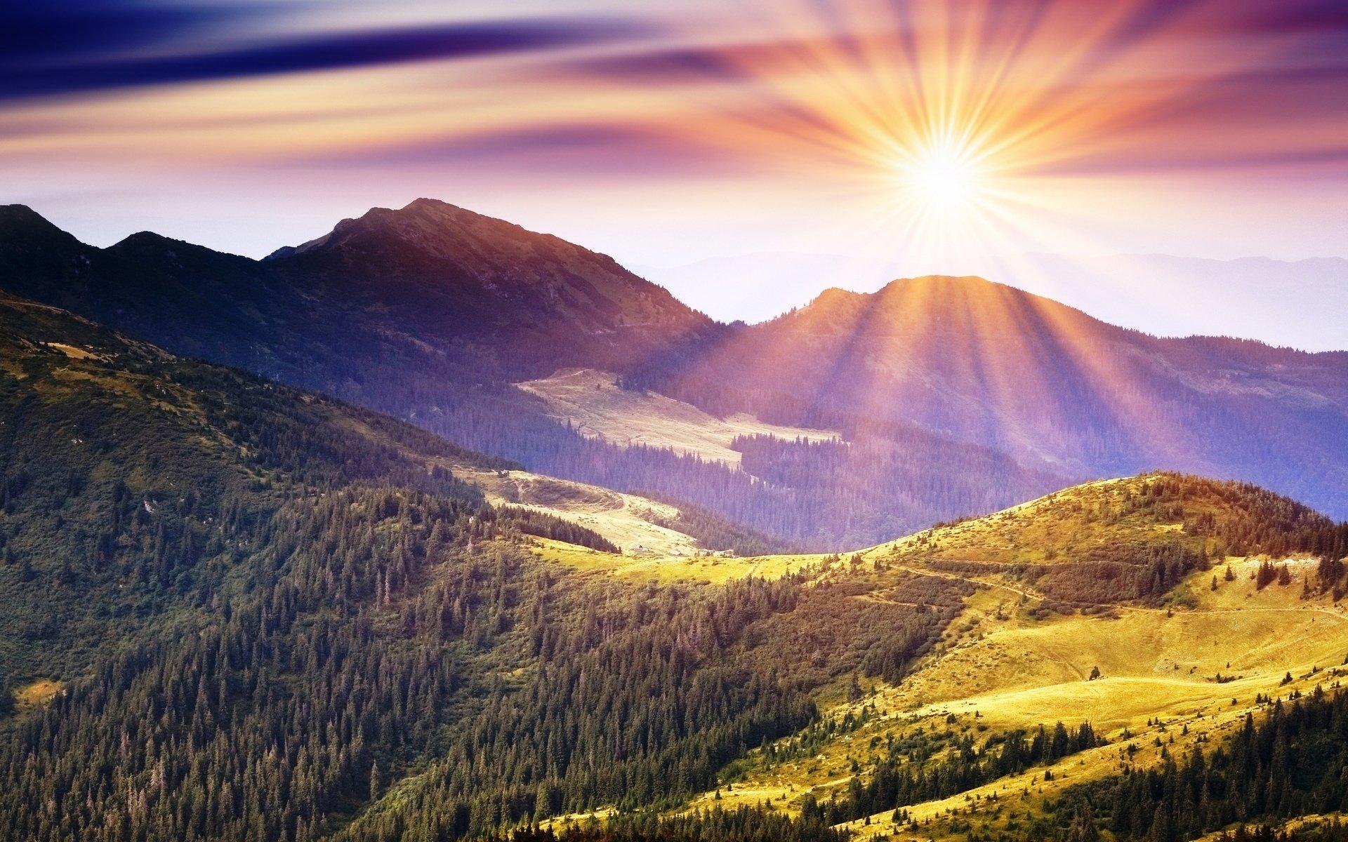 Earth - Sunrise  Sun Forest Mountain Cloud Landscape Sky Scenic Wallpaper