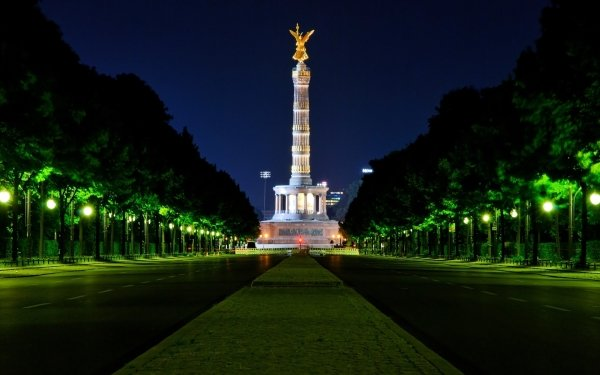 Man Made Berlin Victory Column Monuments Berlin Germany Night Light Architecture HD Wallpaper   Background Image