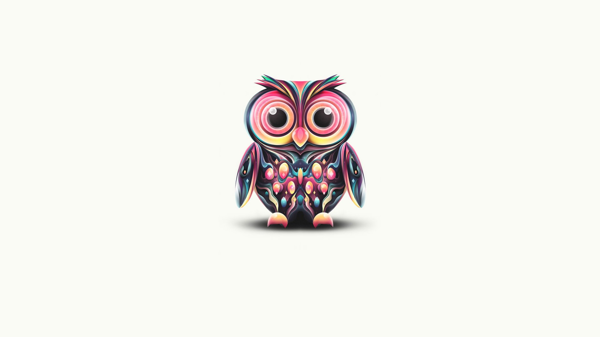 Artistic - Psychedelic  Minimalist Colors Paint Owl Wallpaper