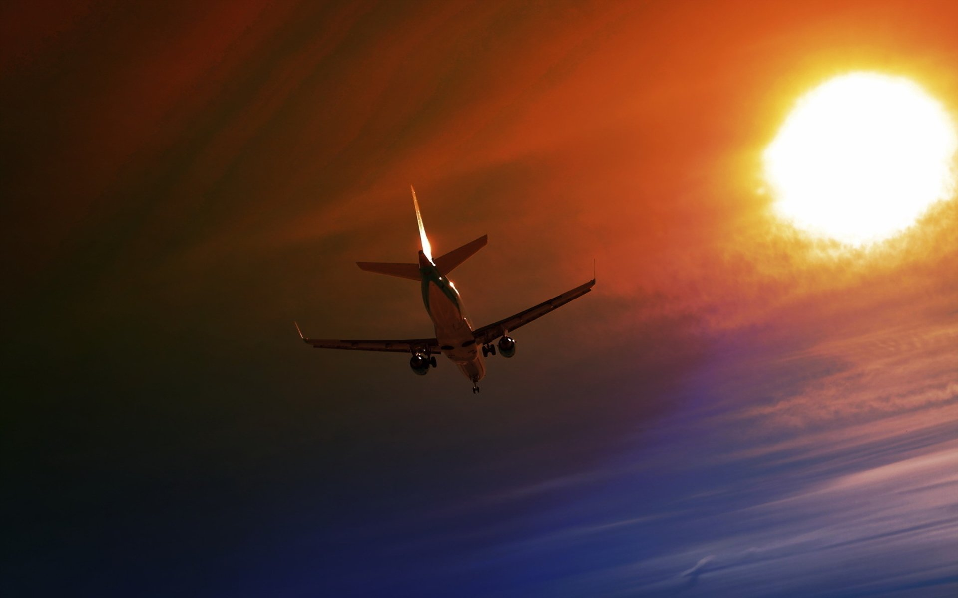 Vehicles - Aircraft  Airplane Fly Sunset Sky Sun Wallpaper