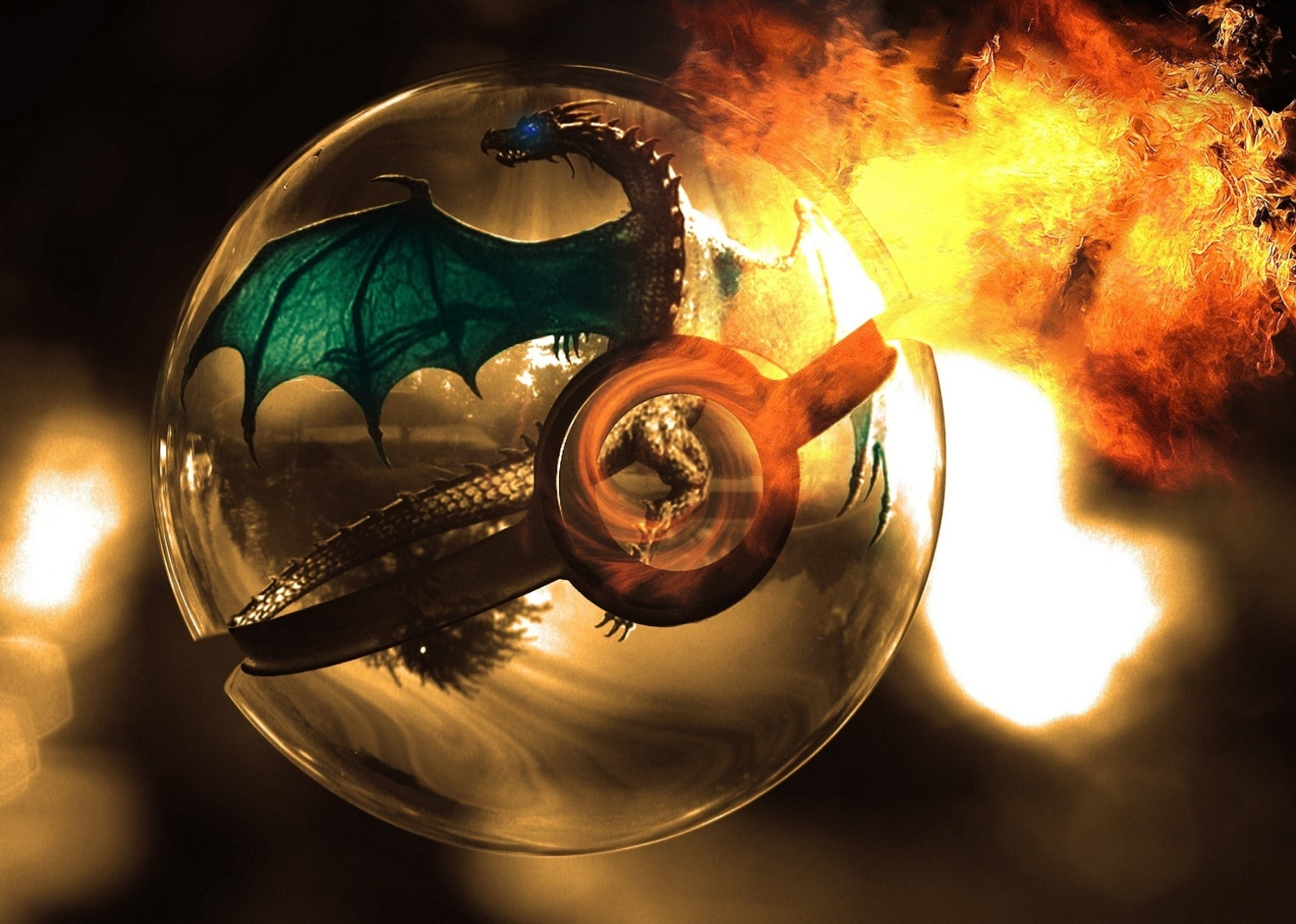 Anime - Pokémon  Charizard (Pokémon) Pokeball Dragon Feu Flamme Fond d'écran