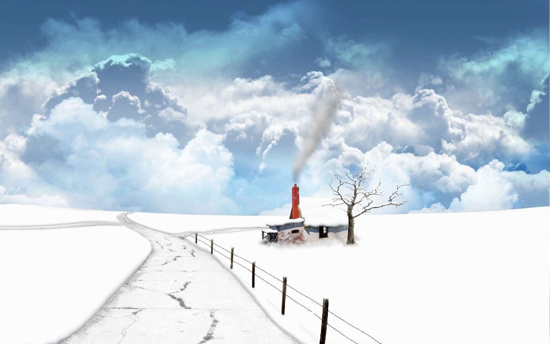 Fantasy - Landscape  Frozen White Snow Winter Wallpaper