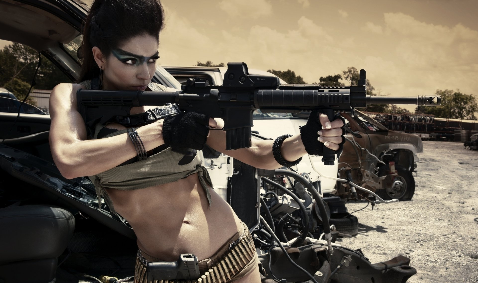 Women - Girls & Guns  Mgw Photography Jessica Vasquez Sensual Weapon Gun Assault Rifle Machine Gun Model Wallpaper
