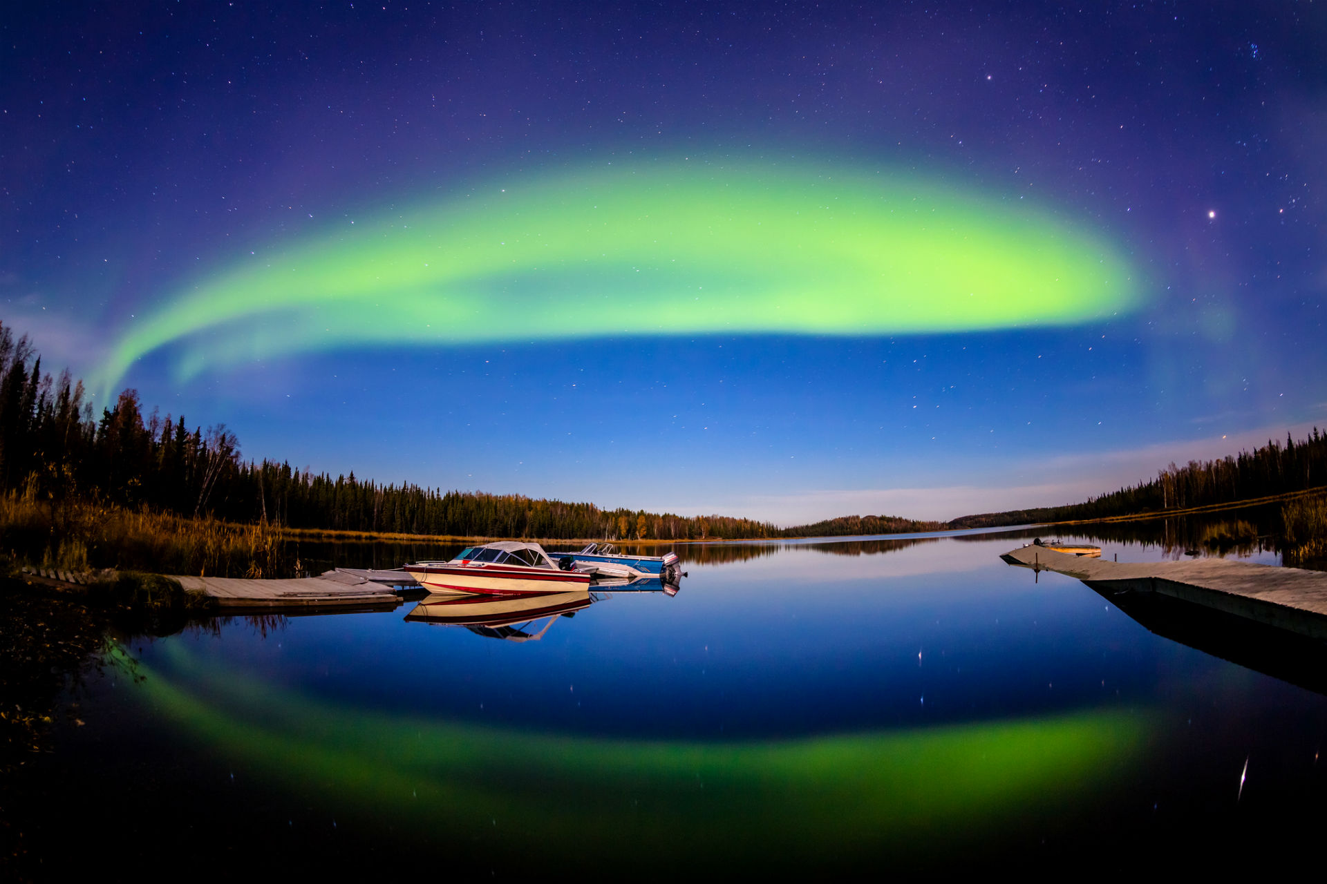 photography reflection aurora borealis boat lake night sky stars wallpaper