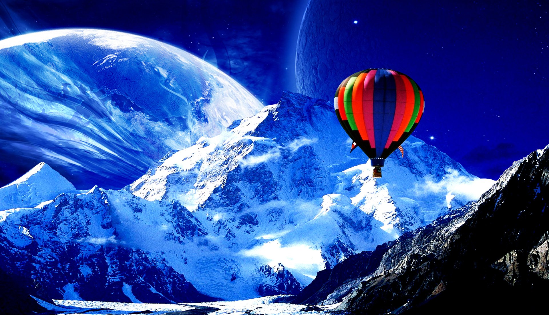 Photography - Manipulation  CGI Digital Art 3D Psychedelic Trippy Landscape Scenic Balloon Abstract Snow Winter Artistic Hot Air Balloon Mountain Moon Wallpaper