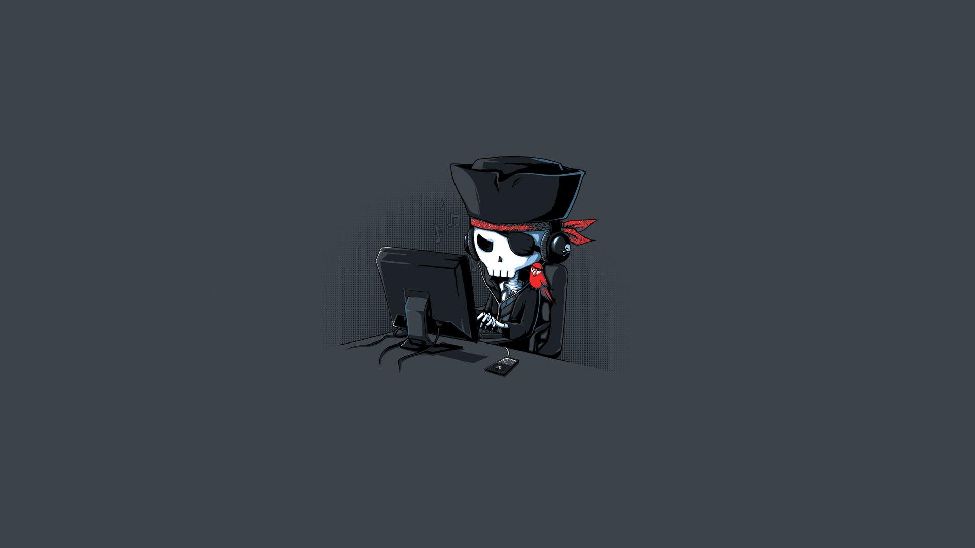 Humor - Computer  Pirate Bay Pirate Skull Wallpaper