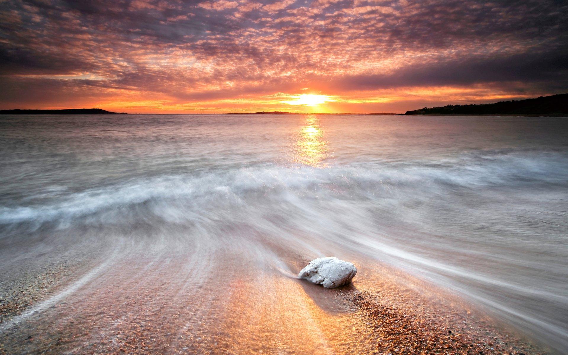 Earth - Beach  Landscape Scenic Ocean Wave Sunset Sunrise Sky Cloud Sea Sun Wallpaper