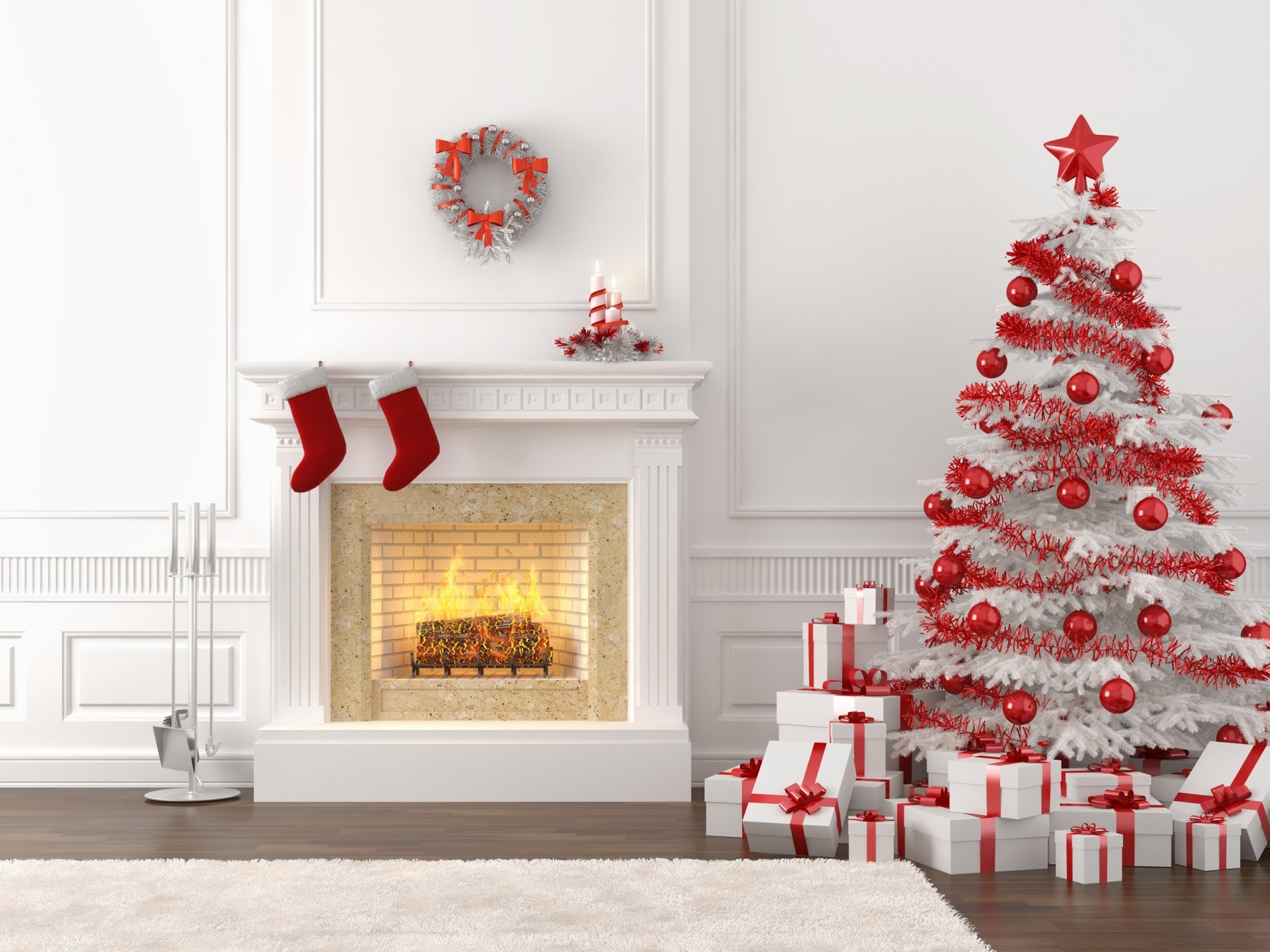 Holiday - Christmas  Christmas Tree Christmas Ornaments Gift Fireplace Wallpaper