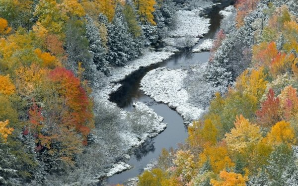 Earth Fall Season Nature Leaf River Stream Frost HD Wallpaper | Background Image