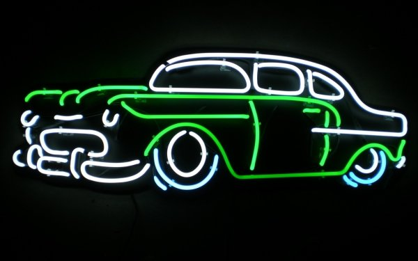 Photography Neon Neon Sign Sign Car Vehicle Classic Car HD Wallpaper | Background Image
