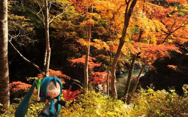 Anime Vocaloid Fall Season Nature Leaf Hachune Miku HD Wallpaper | Background Image