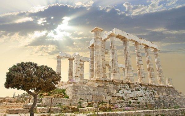 Man Made Ruin Greece Columns HD Wallpaper   Background Image