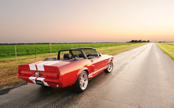 Vehicles Shelby GT500 Classic Recreation Ford Muscle Car Classic Car Convertible Red Car HD Wallpaper   Background Image