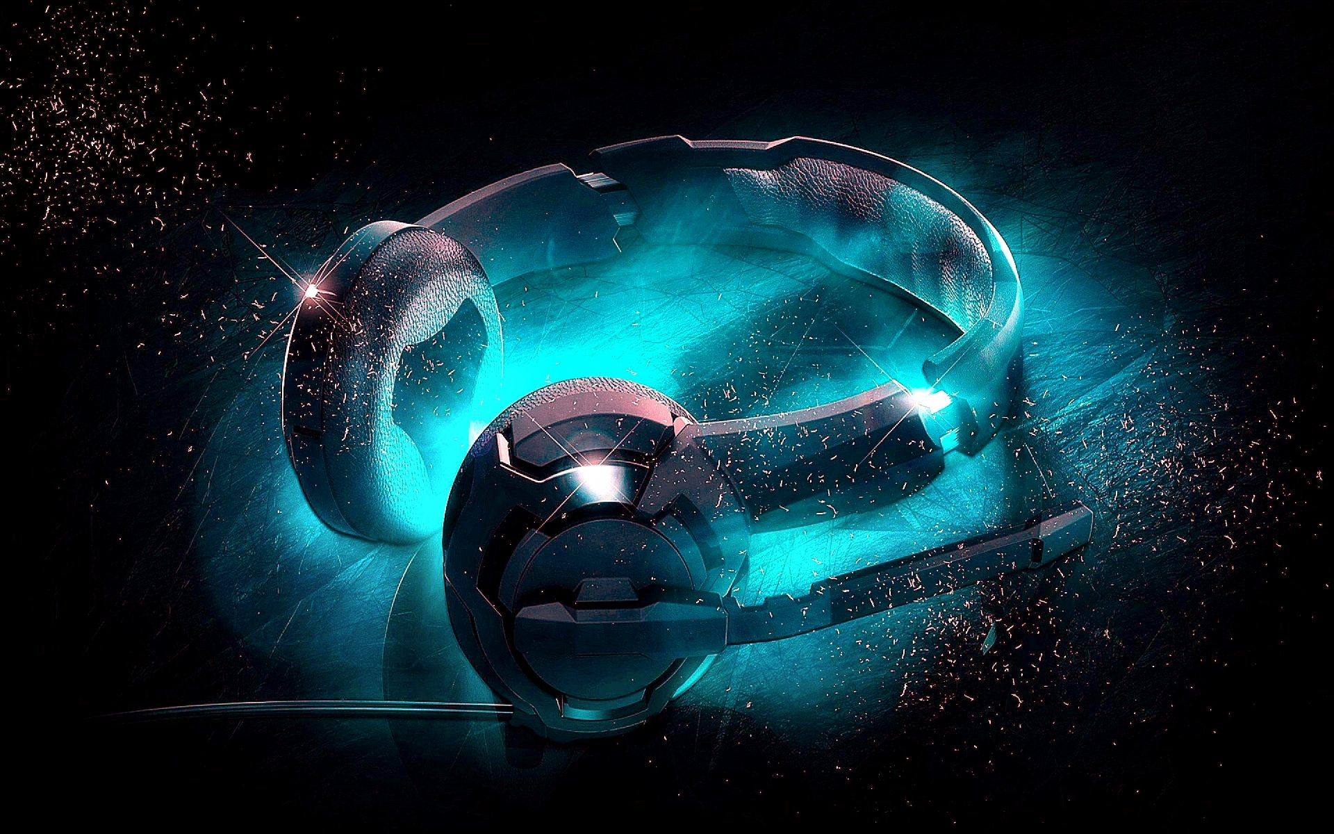 Music - Headphones  Blue Glow Wallpaper
