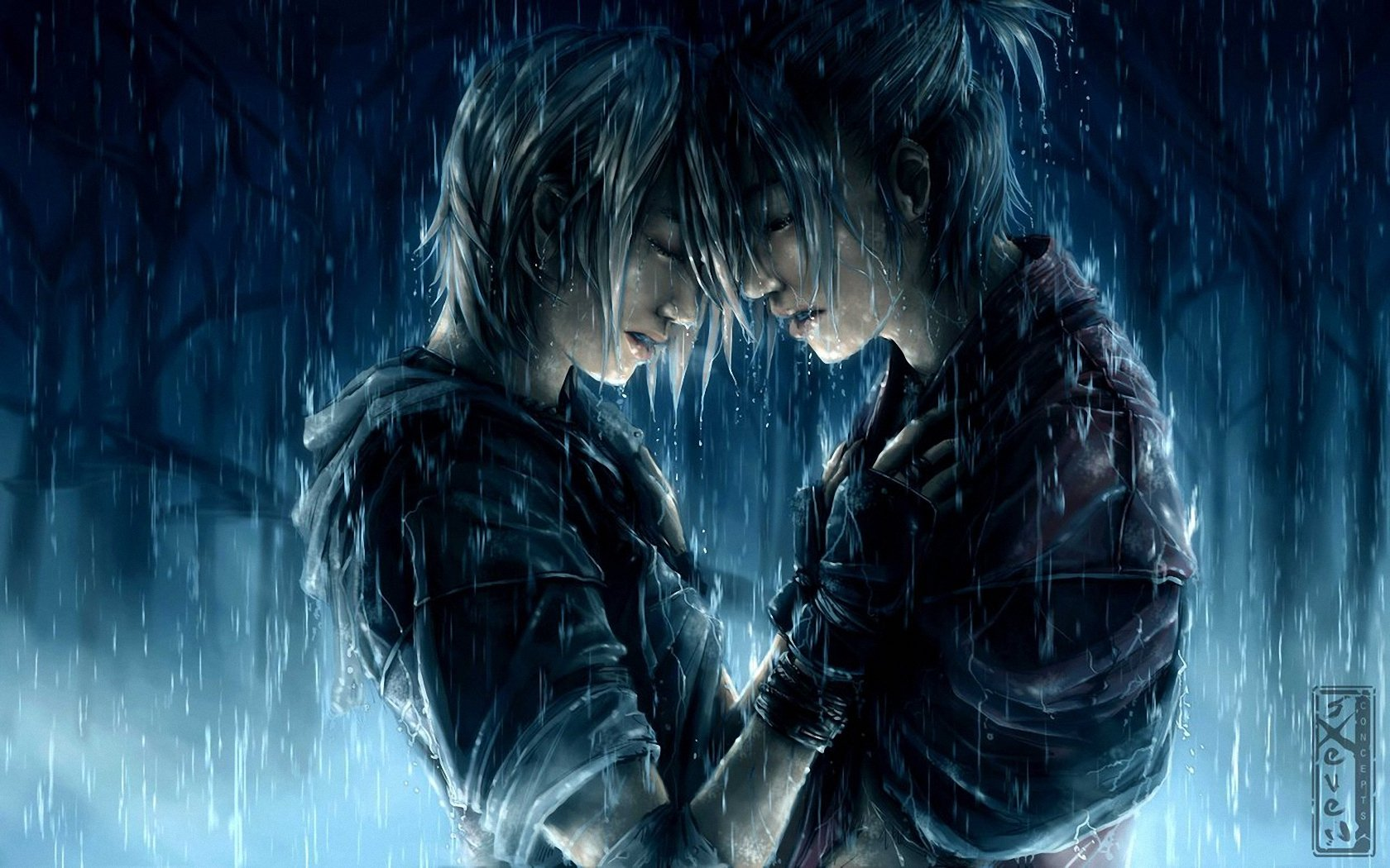 Anime Love Wallpapers: Rainy Love Wallpaper And Background Image