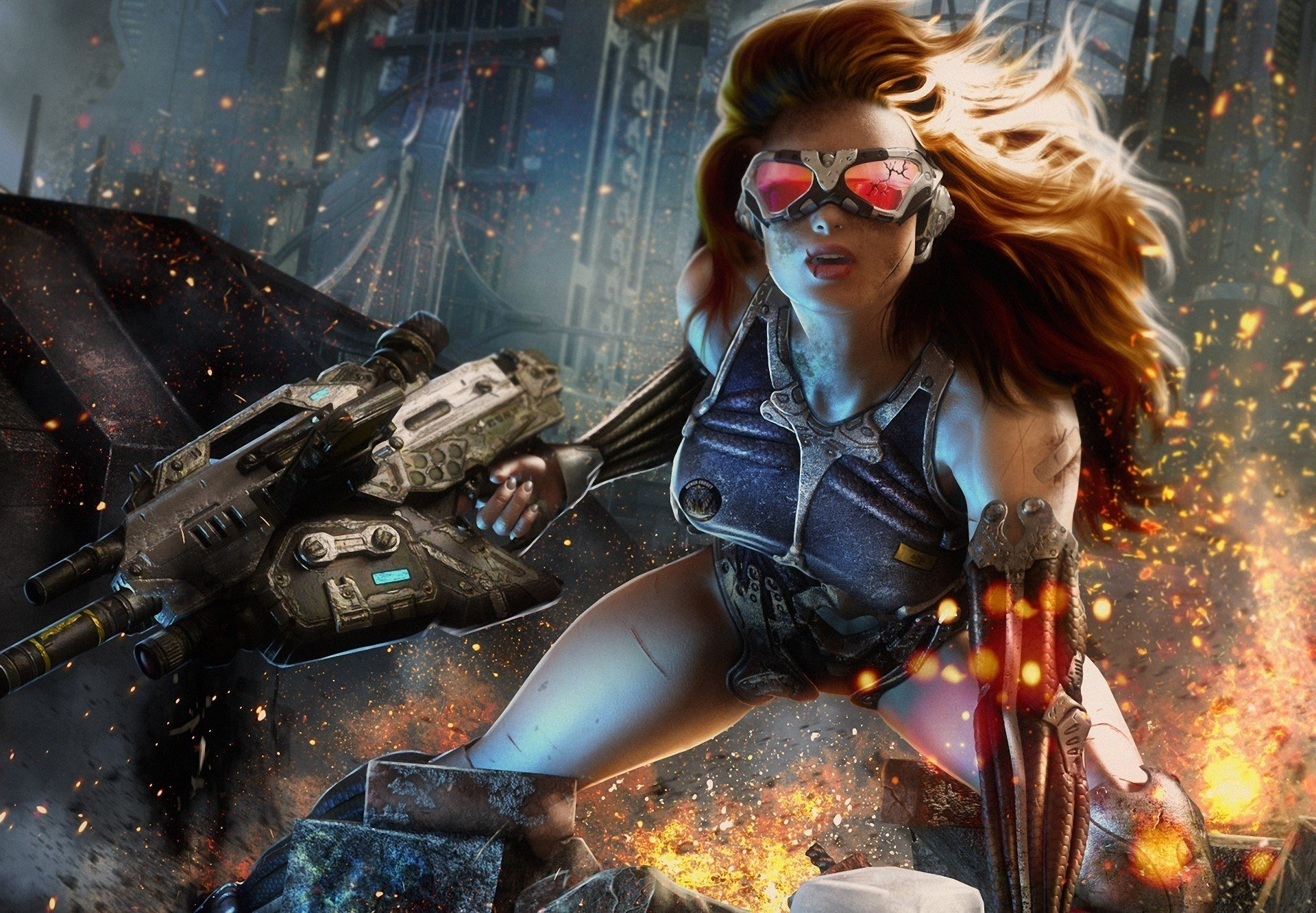 Sci Fi - Women Warrior  Cyborg Redhead Wallpaper