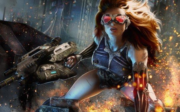 Sci Fi Women Warrior Cyborg Redhead HD Wallpaper | Background Image