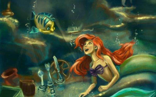 Películas La Sirenita (1989) La Sirenita Flounder Ariel Sirena Pez Fondo de pantalla HD   Fondo de Escritorio