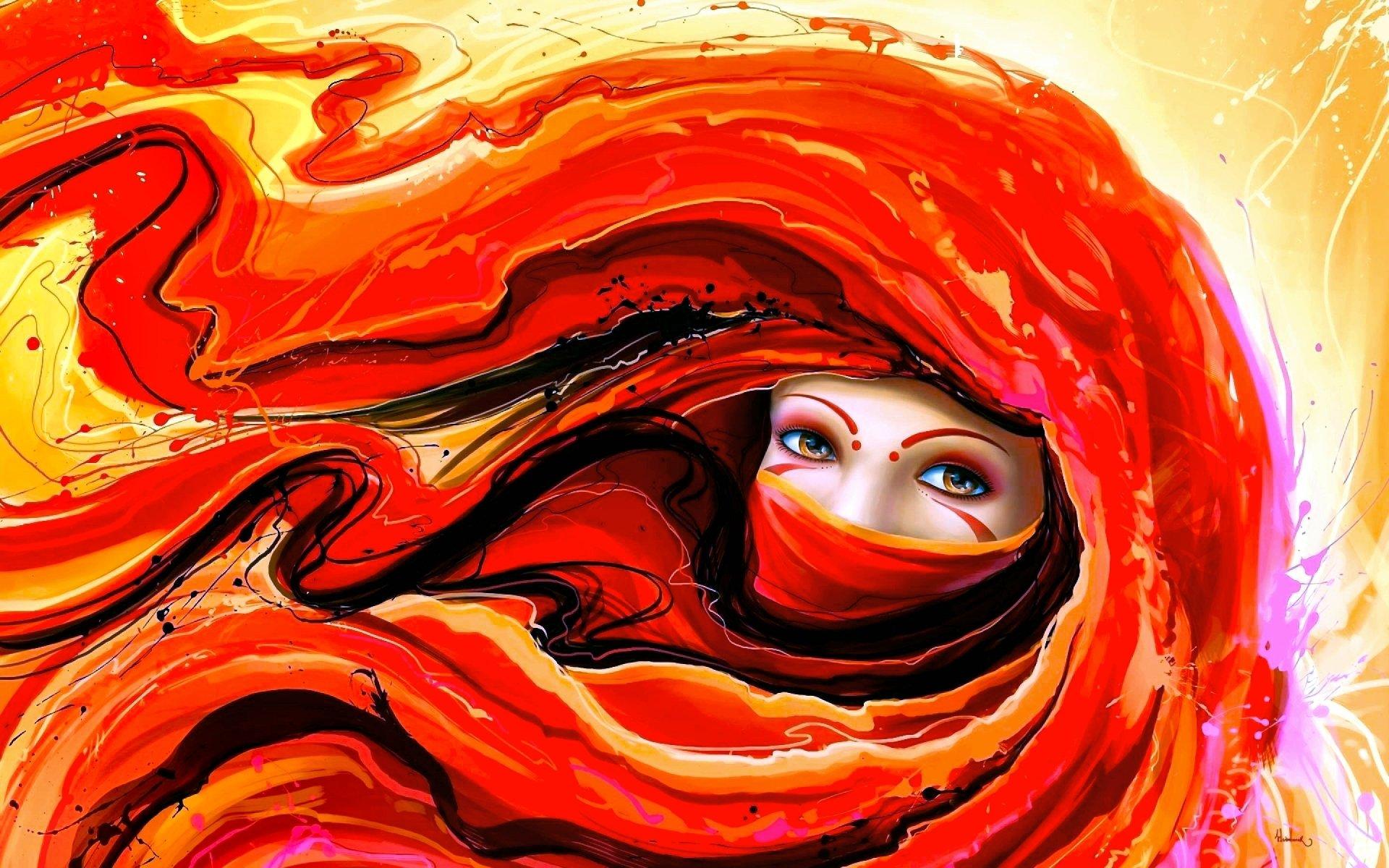 Women - Artistic  Eye Face Red Wallpaper