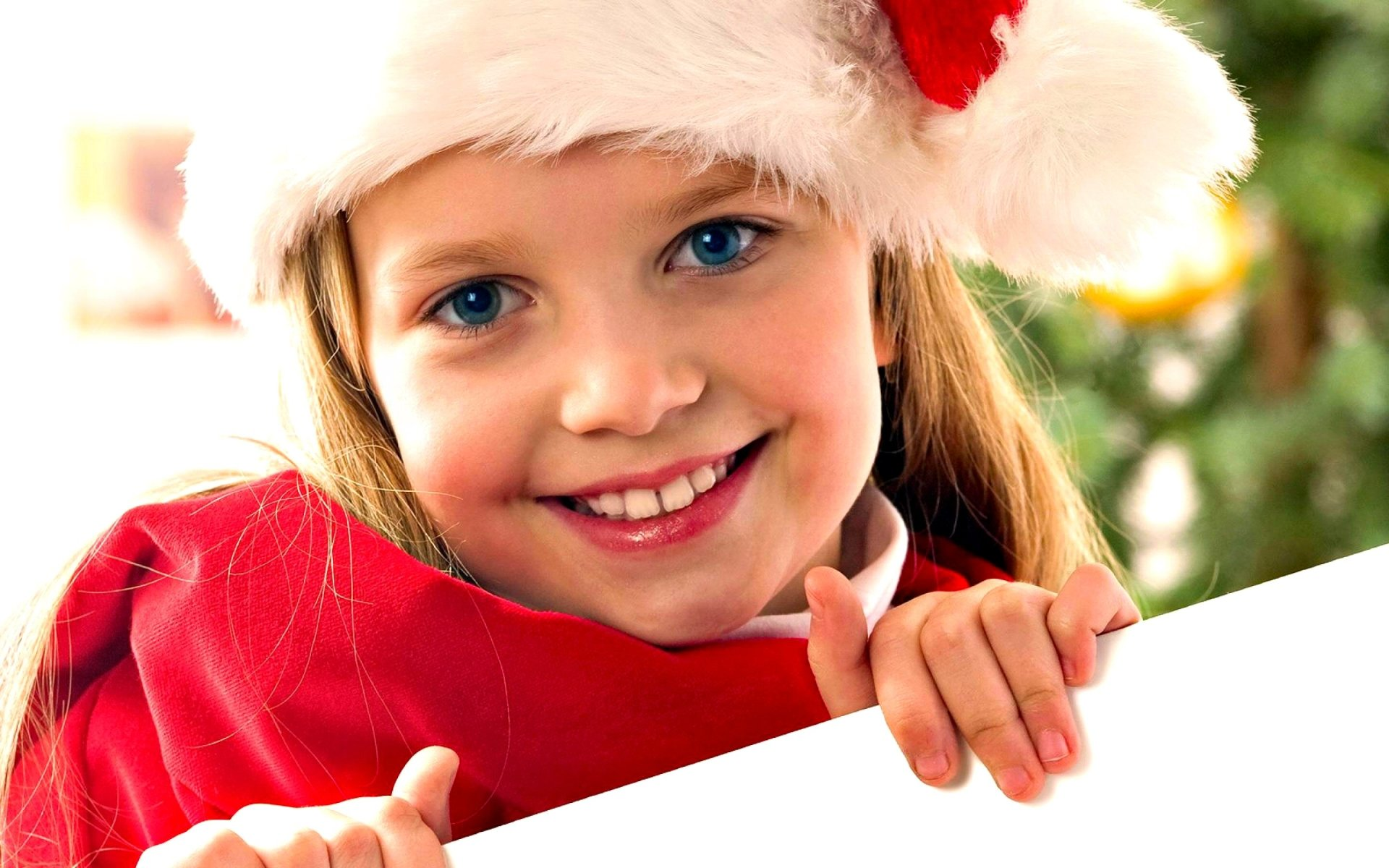 Holiday - Christmas  Child Girl Santa Hat Blue Eyes Smile Wallpaper