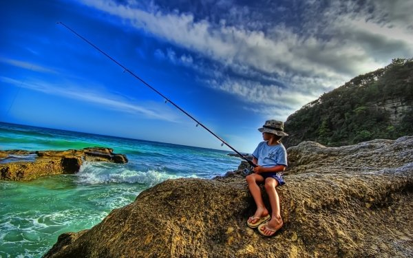 Photography Fisherman Fishing HDR People Child Ocean Sea Rock HD Wallpaper | Background Image