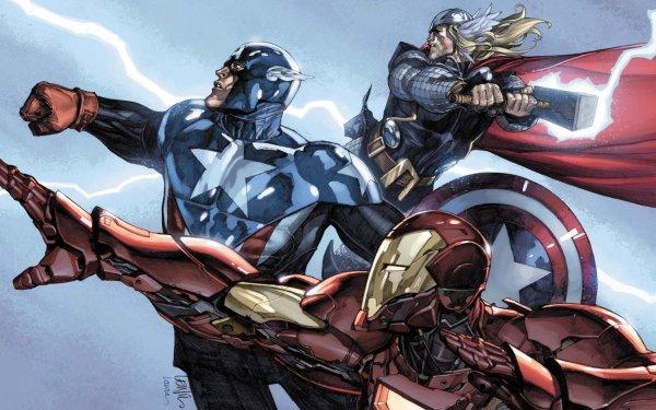 Comics Los Vengadores Capitan América Iron Man Thor Fondo de pantalla HD | Fondo de Escritorio