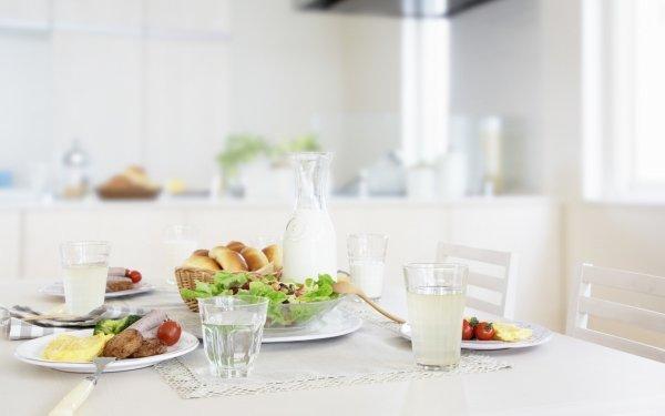Alimento Comida Lunch Vidrio Milk Ensalada Fondo de pantalla HD | Fondo de Escritorio
