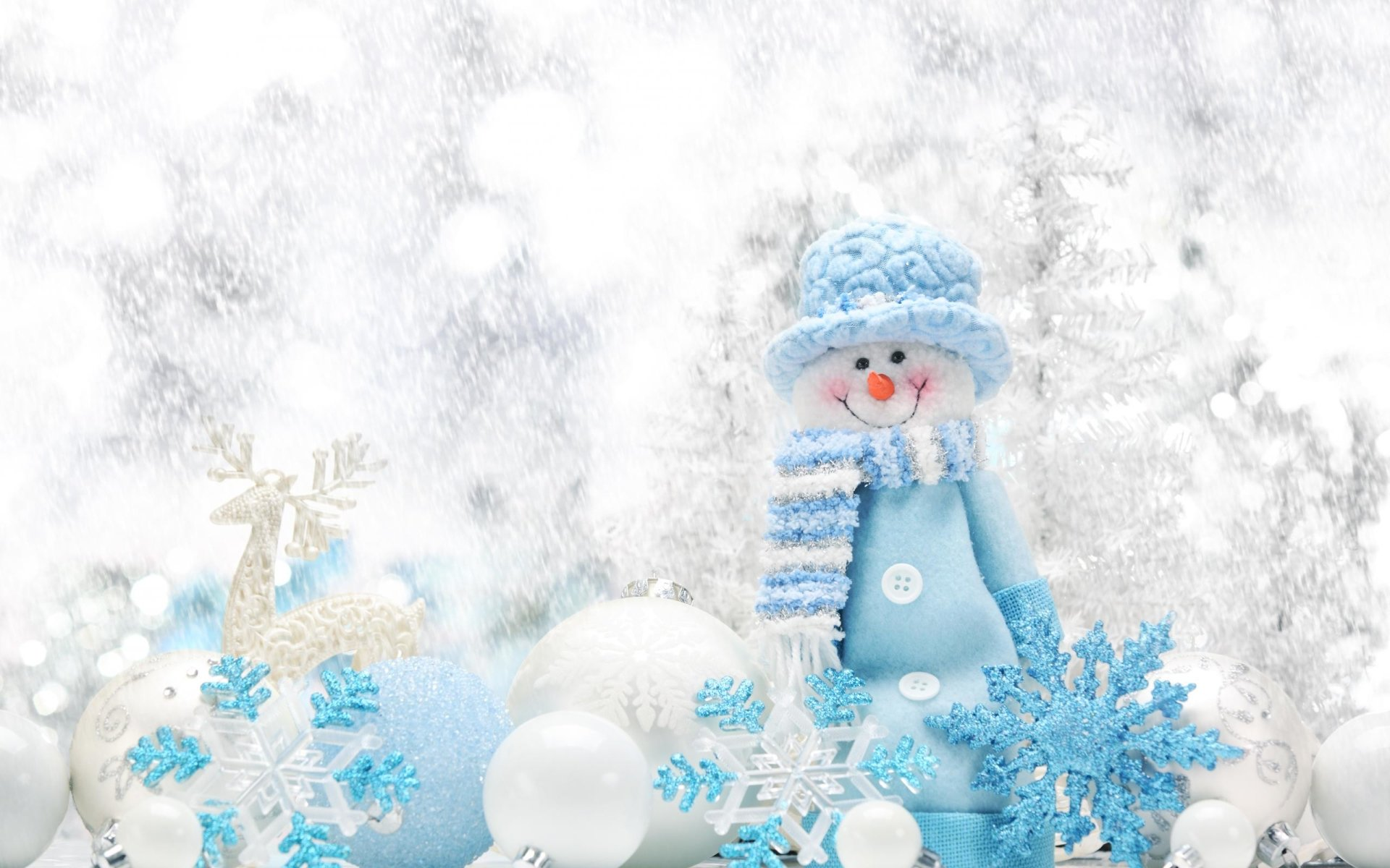 Holiday - Christmas  Holiday Christmas Ornaments Snowman Snow Snowflake White Blue Wallpaper