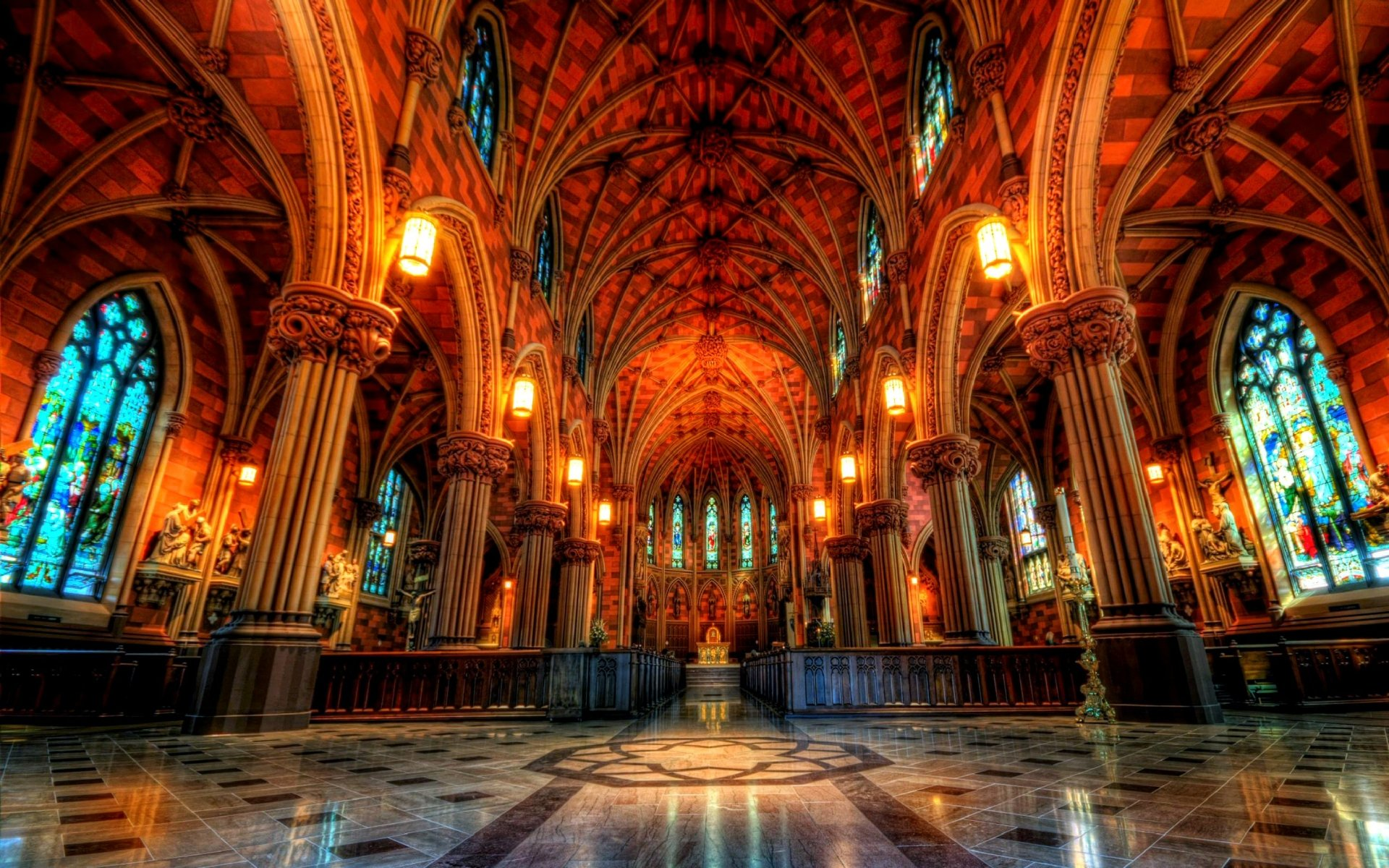 Religious - Cathedral Of The Immaculate Conception  Cathedral Church Architecture Religious Columns Arch Altar Colors Colorful Wallpaper