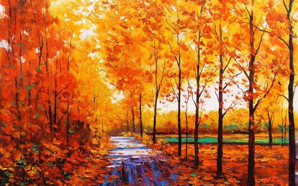 Artistic Landscape Painting orange Fall Tree HD Wallpaper | Background Image