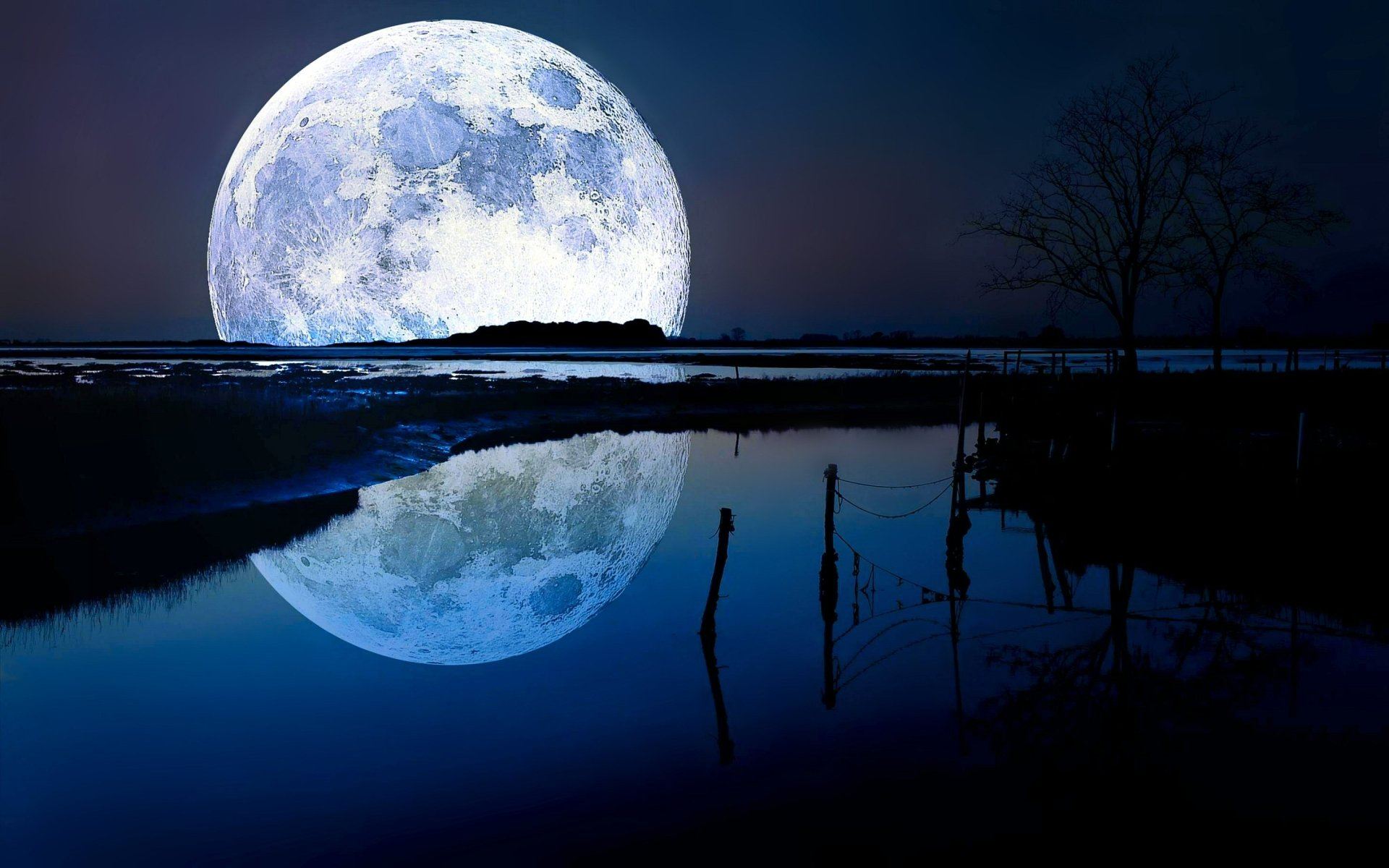 Earth - Reflection  Moon Horizon Lake Blue Wallpaper