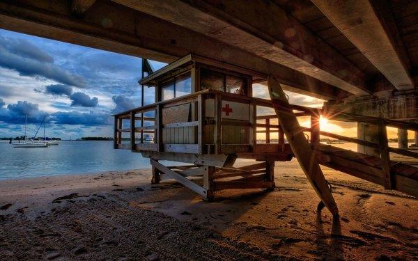 Photography Sunset Beach Ocean Sand Surfboard HD Wallpaper   Background Image