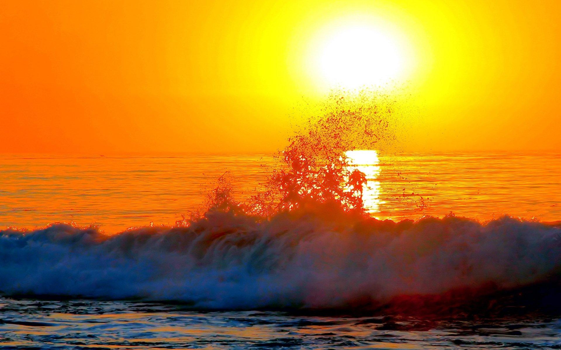Earth - Sunset  Wave Horizon Sea Sunny Wallpaper