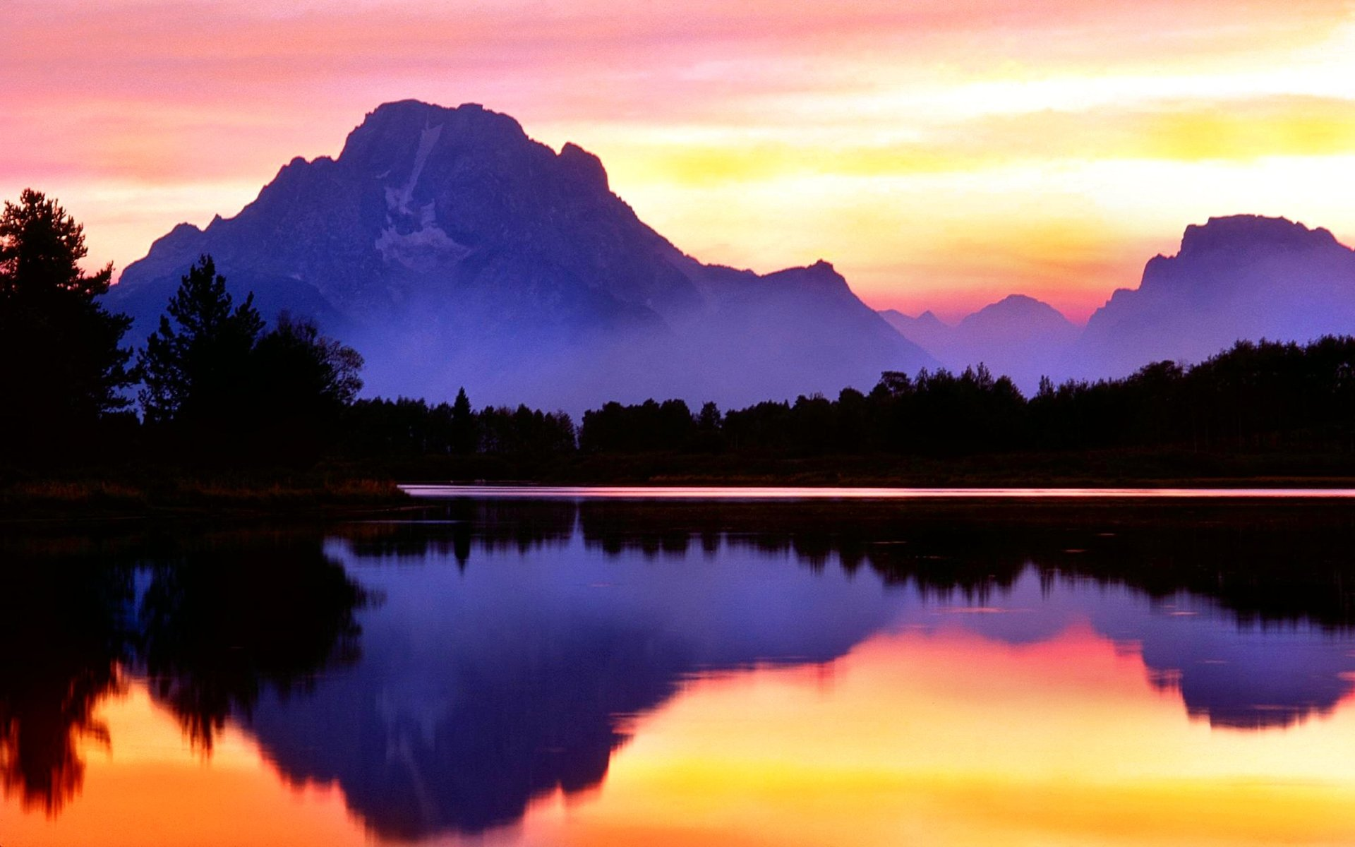 Earth - Reflection  Mountain Lake Scenic Purple Wallpaper
