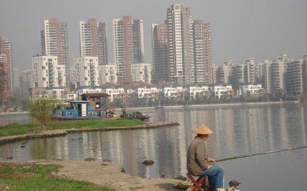 Photography Fisherman Fishing River City People Lake Boat HD Wallpaper | Background Image