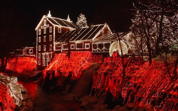 Man Made House Buildings Clifton Mill Ohio Christmas HD Wallpaper   Background Image