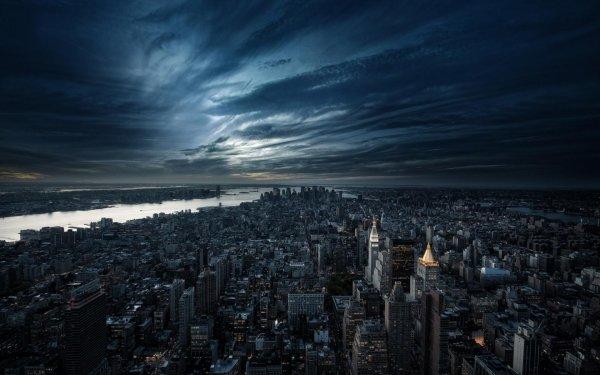 Man Made Manhattan Cities United States Night Sky City New York HD Wallpaper | Background Image