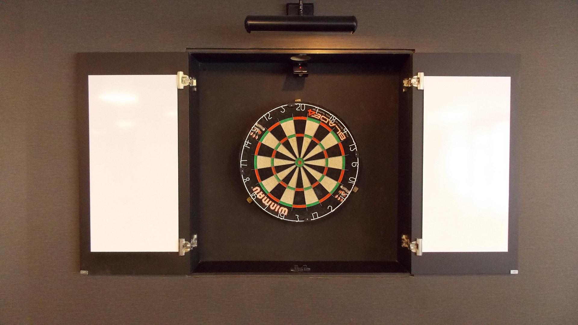 Dartboard In A Wooden Cabinet Hd Wallpaper Background