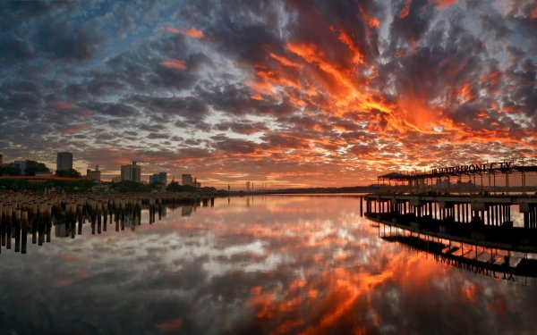 Photography Reflection Sunset City Pier HD Wallpaper | Background Image