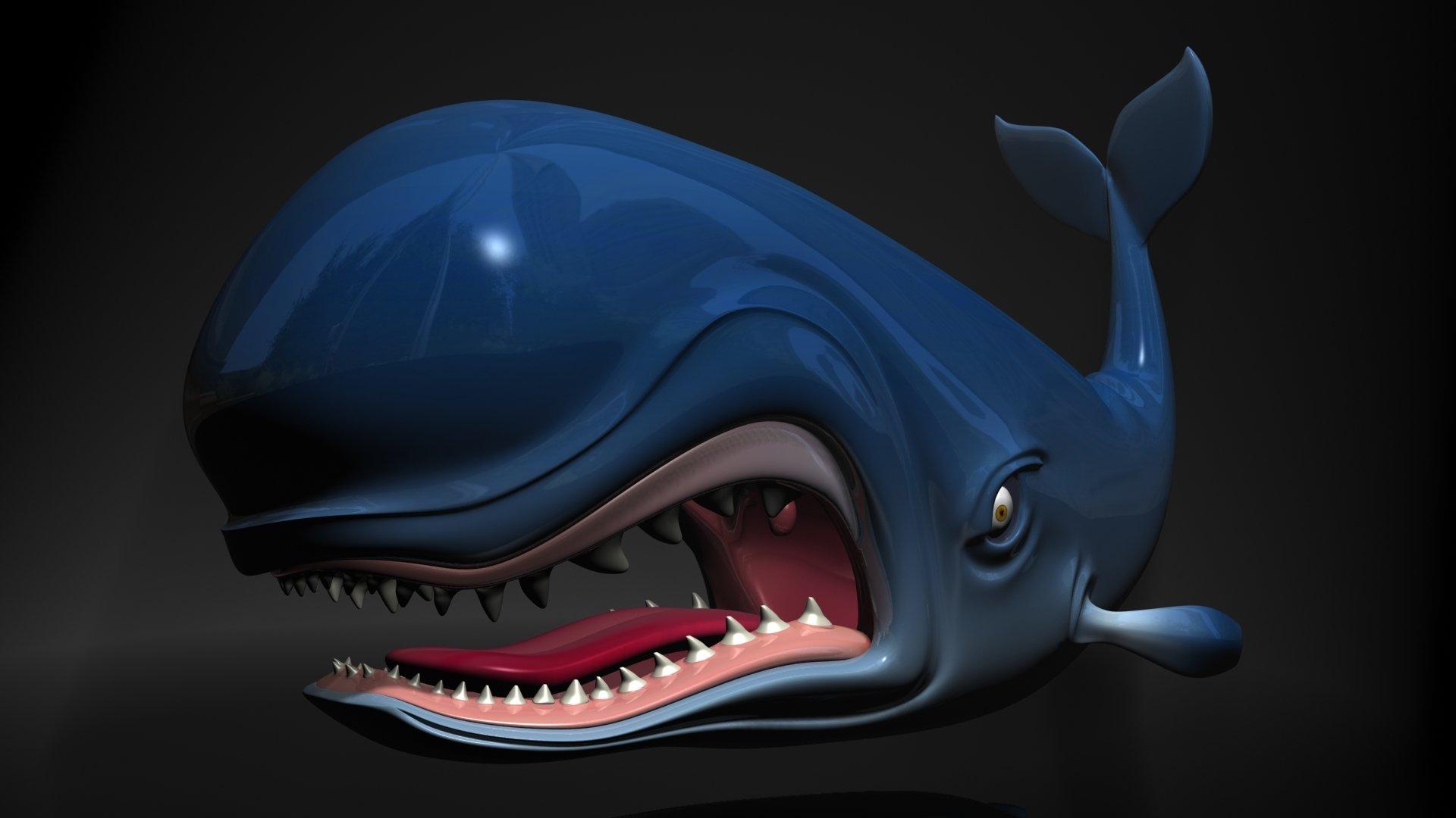 Animal - Whale  Fantasy Cartoon Monster Toon Creature Shark Monstro Fish Sea Ocean Disney Pinocchio 3D Baleine Wallpaper