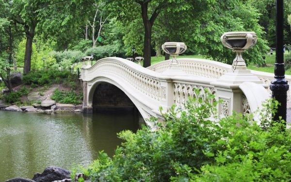 Man Made Bow Bridge Bridges Central Park Manhattan HD Wallpaper | Background Image